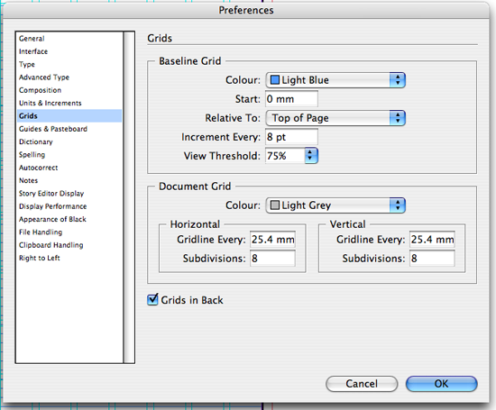 Grids preferences